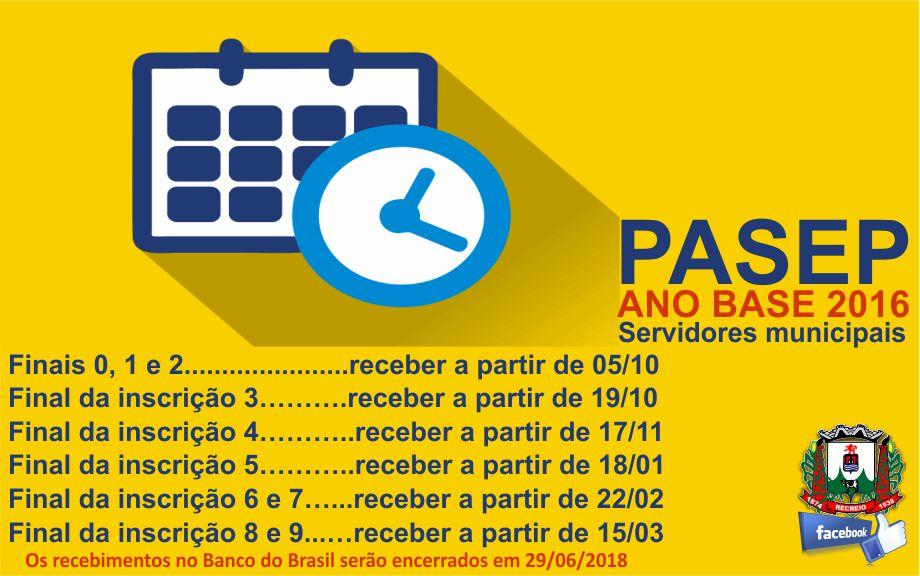 Calendário PASEP servidores da Prefeitura
