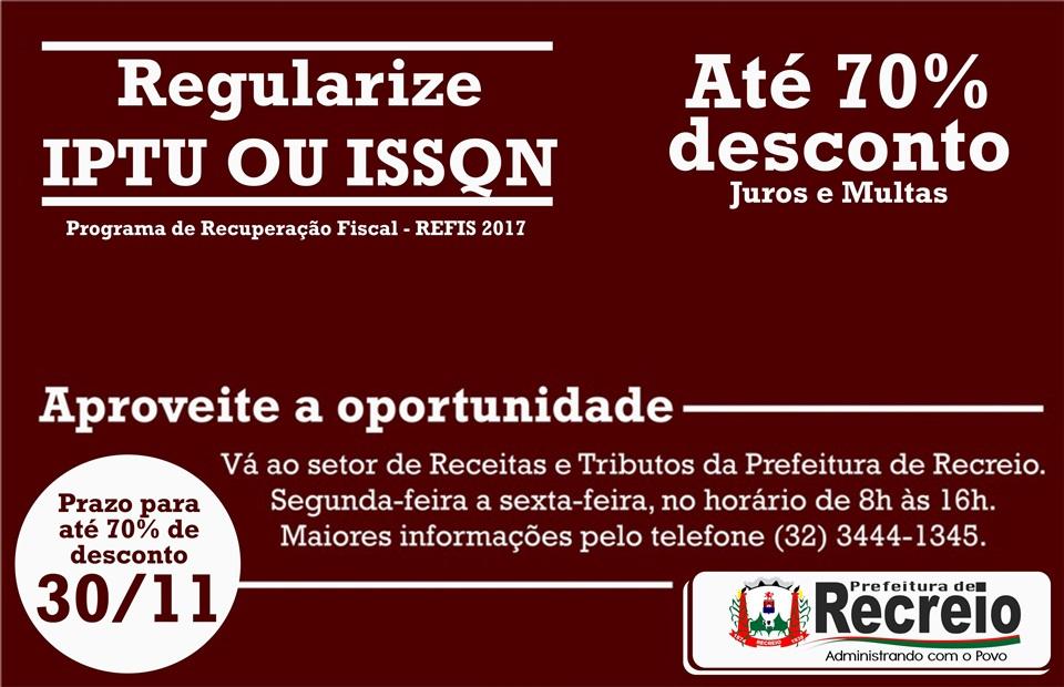 Regularize IPTU ou ISSQN - 70% desconto - 30/11